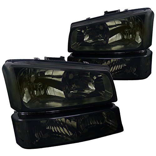 Spec-D Tuning LBLH-SIV03G-RS Chevy Silverado Avalanche Crystal Smoke Tint Headlights+Bumper Lamps