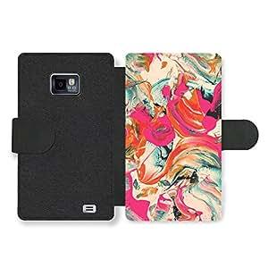 Cool Colourful Paint Swirl Art Design in Pink Cream and Blue Funda Cuero Sintético para Samsung Galaxy S2