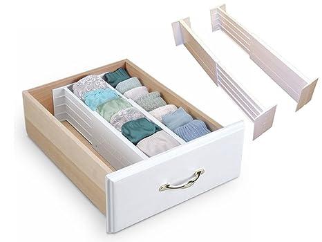 LIVIVO®, set di 2 divisori per cassetti con molla espandibile, per ...