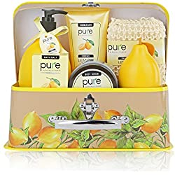 Best Thank You Gift Spa Basket! Zesty Lemon Spa in a Basket. Pure! Bath & Body Luxury Spa Kit for Ultimate Spa Gift with Lemon Essential Oil for Mood Balance Aromatherapy!