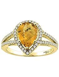 14K Gold Natural Whisky Quartz Ring Pear Shape 9x7 mm Diamond Accents, sizes 5 - 10