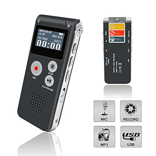 eBoTrade Digital Voice Recorder, Rechargeable 8GB Audio Voice Recorder/Dictaphone/MP3 Player Gray