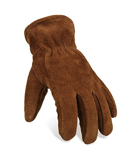 OZERO Winter Gloves, Genuine Cowhide Leather Snow Working Glove Lined with Thick and Warm Imitation Lambswool - Cold Proof, Windproof and Wear-resistant for Men & Women - (Winter Leather Work Gloves)