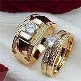 Haluoo Couple Rings, Men's Women's Gold Stainless Steel Wedding Bands Cubic Zirconia Diamond Engagement Promise Rings, Size 5-14 (9, Women)