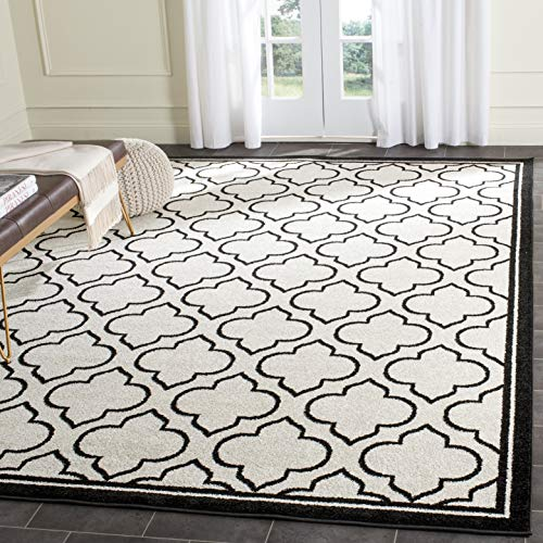 Safavieh Amherst Collection AMT412D Moroccan Geometric Area Rug, 4 x 6 , Ivory Anthracite
