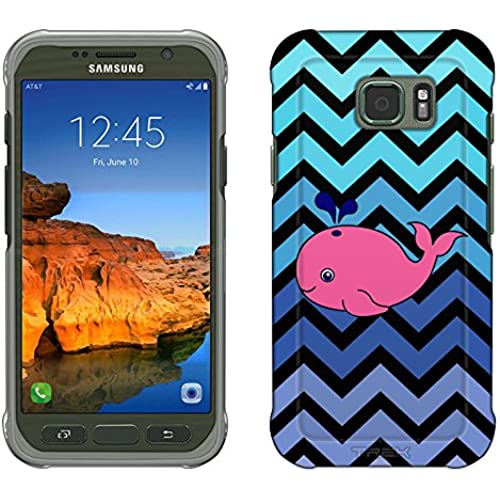 Samsung Galaxy S7 Active Case, Snap On Cover by Trek Chevron Teal Blue Whale Black Slim Case Sales