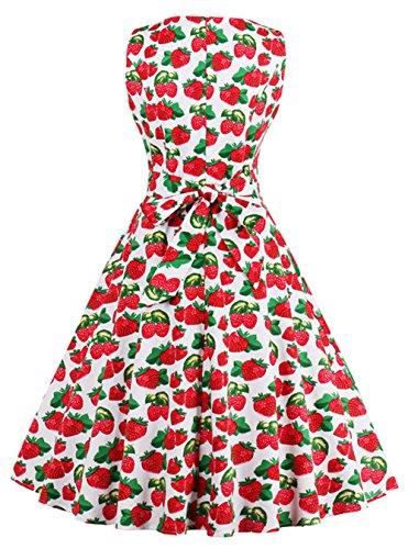 73be2cbfd4bc Bestfort Vintage Kleider Damen 50er Retro Mode Rundhals Cocktailkleider  Knielang Ärmellos Festliche Kleine Blumen Rockabilly Kleid ...
