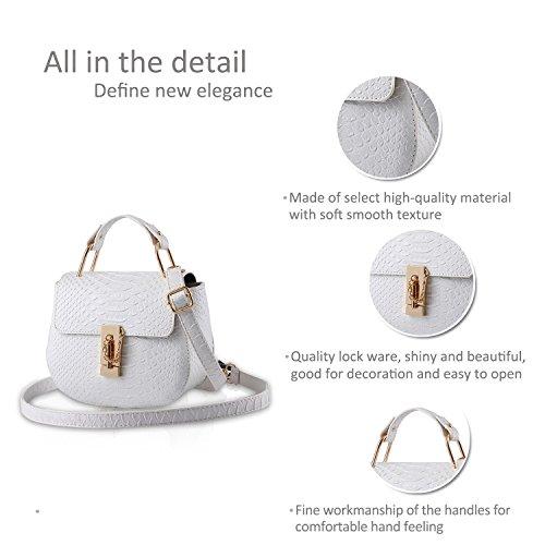 NICOLE&DORIS Niñas lindo bolso de estilo Messenger Crossbody hombro bolsa bolsa de mango bolsa multiusos PU azur blanco puro