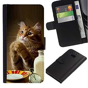 """HTC One M8 , la tarjeta de Crédito Slots PU Funda de cuero Monedero caso cubierta de piel ("""" Cat Cute Funny Paws Table Food Milk Ginger"""")"""