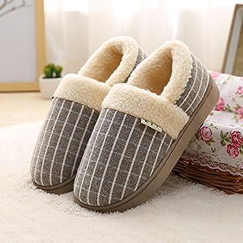 LaxBa Invierno patinar en zapatillas piel falsa nieve forrada caliente Zapatos para hombres ?Cuadrícula? Caqui260 (38-39) para el habitual 37-38: Amazon.es: ...