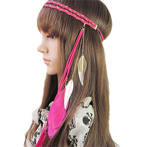BUYITNOW Women Feather Headband Stretchy Braided Leaf Bead Hair Tassels (Cute Indian Costumes For Girls)