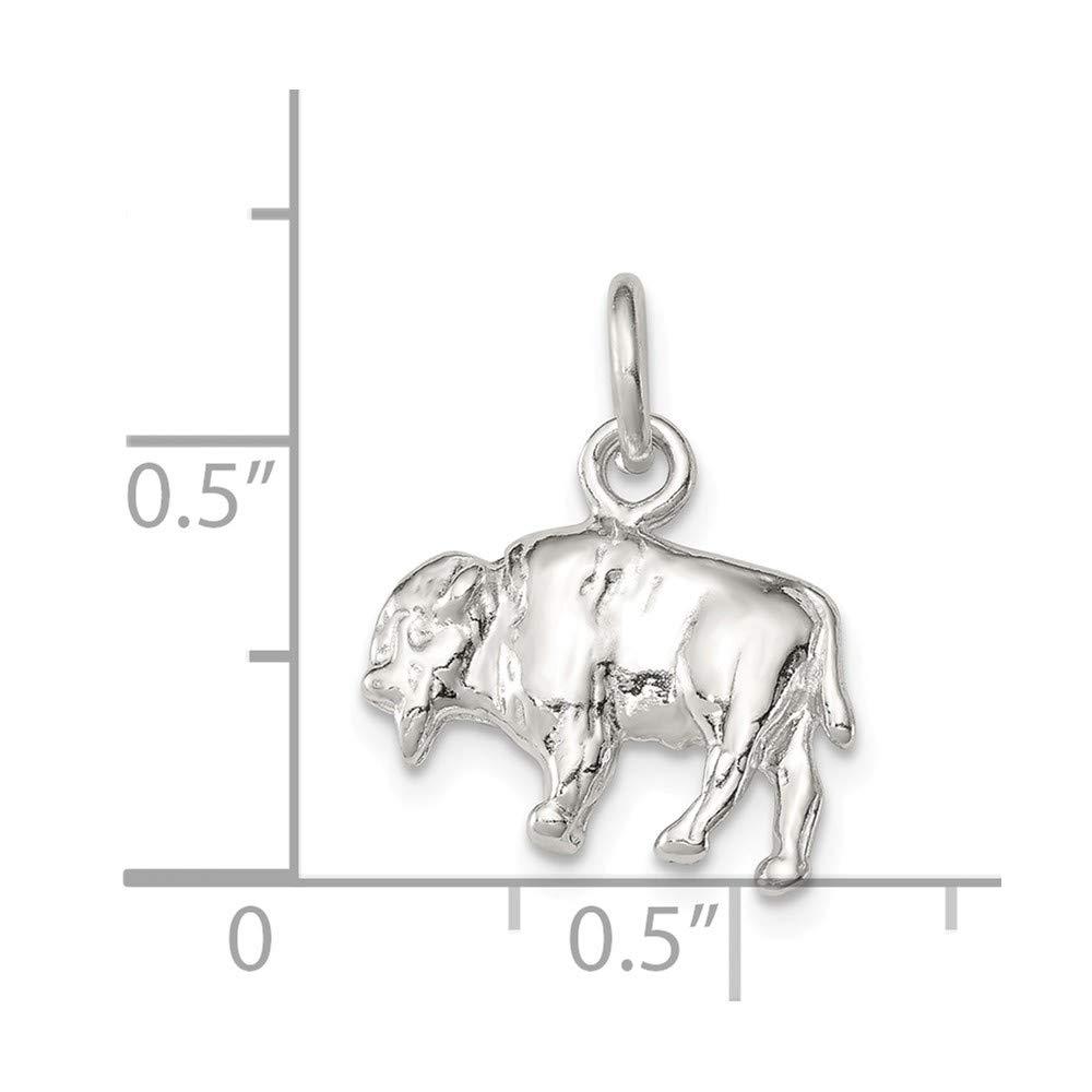 Jewel Tie Sterling Silver Buffalo Charm 0.55 in x 0.63 in