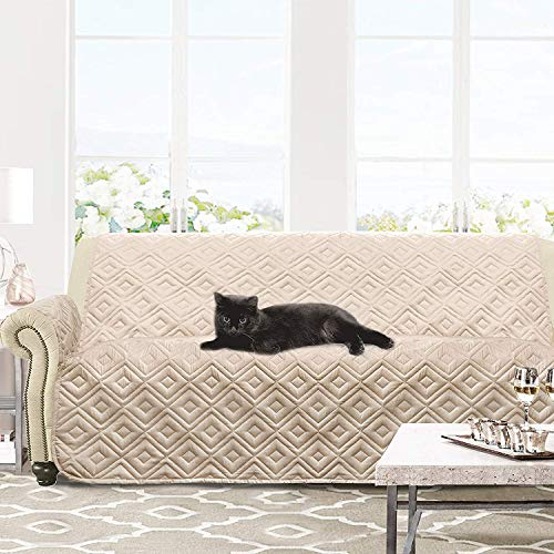 DriftAway Marley 100 Percent Waterproof Furniture Protector Quilted Cover Couch Slipcover Perfect for Kids Pet Cat Dog Machine Washable Sofa Beige (Throw Sofa Covers)