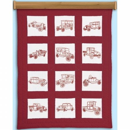 - Jack Dempsey 737 546 Themed Stamped White Quilt Blocks 9X9 12/Pkg-Vintage Vehicles