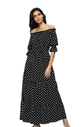 Vestido Verano Fiesta Lunares Vestido Off Yacun Black Playa Mujer Largo Hombro q1wSISxT7p