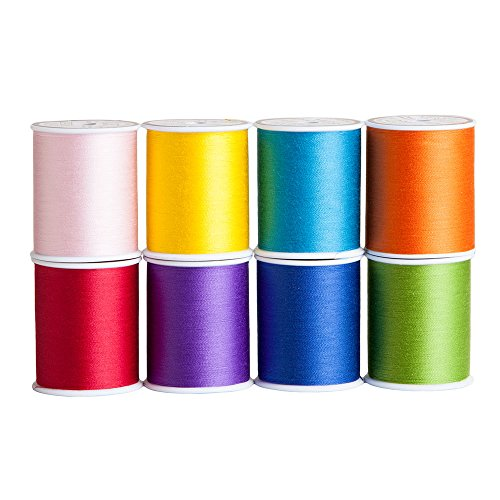 Sew Complete by Superior Threads - 8 Assorted Colors of 50 wt All-Purpose Polyester Sewing and Quilting Thread in a Gorgeous Summer Color Palette. 300 Yard Spools by Superior Threads