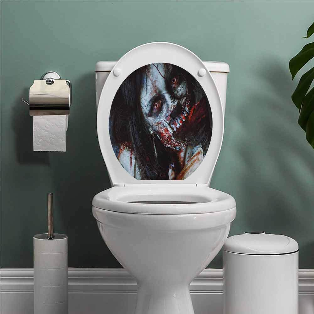 Auraise Heybee Zombie Toilet Seat Tattoo Cover Scary Dead Woman with a Bloody Axe Evil Fantasy Gothic Mystery Halloween Picture Vinyl Bathroom Decor Multicolor W12XL14 INCH by Auraise Heybee