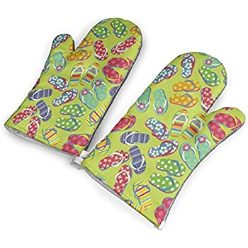 VshiXzno Color Flip Flops Oven Mitts,Professional Heat Resistant to 500?? F,Non-Slip Kitchen Oven Gloves for Cooking,Baking,Grilling,Barbecue Potholders