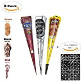 ZEYER 3 Tube Temporary India Tattoo Kit Paste Cone,3 Color Paste Cone Indian Body Art Drawing Painting with 2 x Applicator Bottle,16 x Needles and 48 x Adhesive Stencil Set