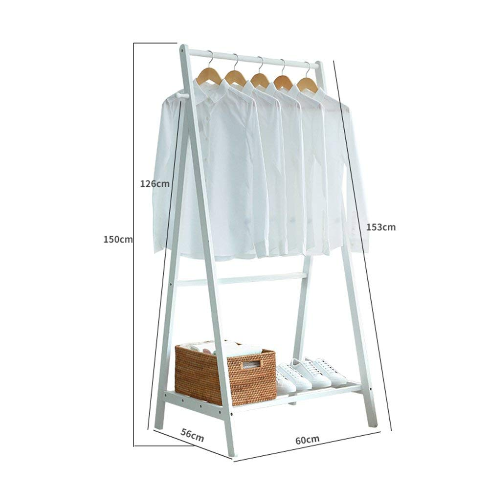 60153CM White DYR Floor Standing Multi-Function Bamboo Coat Rack Clothes Rack Storage Rack Stable and Durable (color  Wood color, Size  60  153 cm)