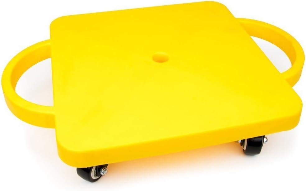 スライドボード、イエロー滑り止めキャスタースライドボード子供、安全性をハンドル