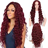 VIMIKID 30'' 75cm Long Wine Red Curly Wig Middle Parting Heat Resistant Synthetic Wig Full Hair Party Cosplay Costume Wig