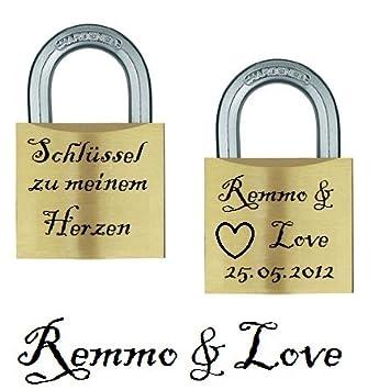 Liebesschloss silber GRAVUR persönliches Geschenk Valentinstag Hochzeit