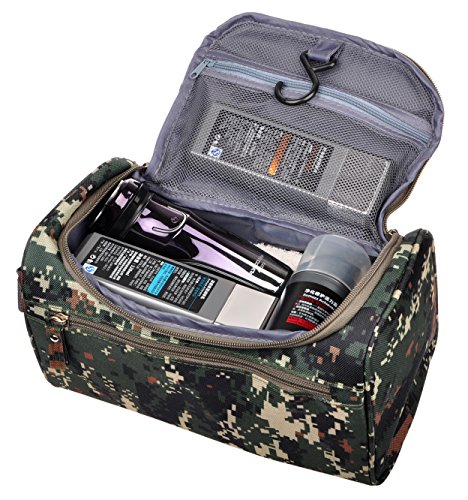 Mens Travel Shaving Toiletry Bag Small Hanging Wash Organizer Dopp Kit Travel Accessories, Camouflage Mosaic Light Camouflage Makeup
