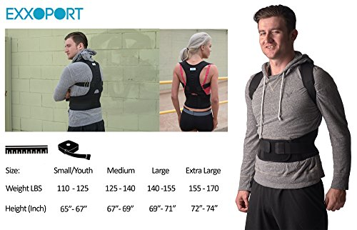 Back Brace Posture Corrector I for Youth, Men and Woman I Reduce Upper and Lower Back Pain I Stabilize Spine I Adjustable Straps (Medium (125-140lbs)) by EXXOPORT (Image #3)