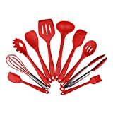 10 Pieces FDA Kitchen Silicone Cooking Utensil Set Spoon Knife Kitchen Gadgets Dining Bar Tools Wholesale Supplies Accessories,China,Red