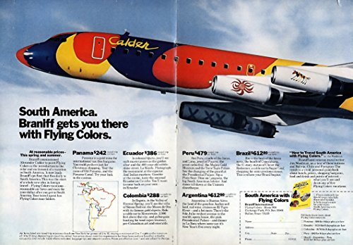 Braniff gets you to South America with Flying Colors ad 1974 Alexander Calder NY