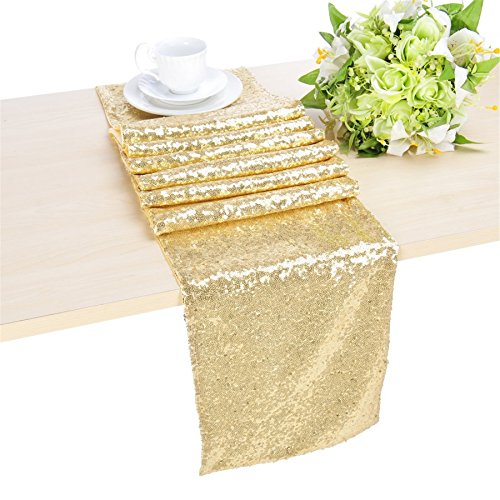 QueenDream light gold sequin table runner 14