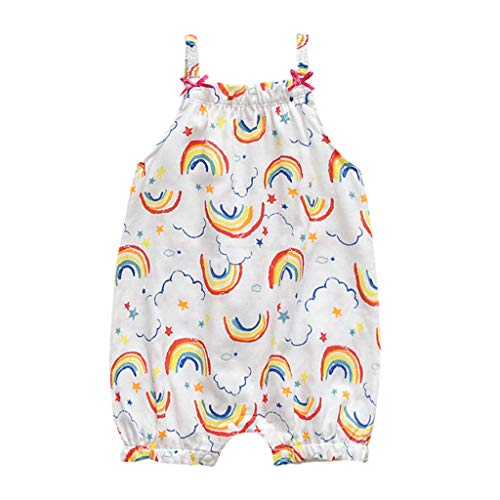 AutumnFall 0-18M Sweet Girls Newborn Baby Boys Sleeveless Jumpsuit Rainbow Strawberry Print Rompers Vest Bib Pants (Age:12-18 Months, White)
