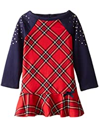 Little Girls' Plaid Print French Terry Dress