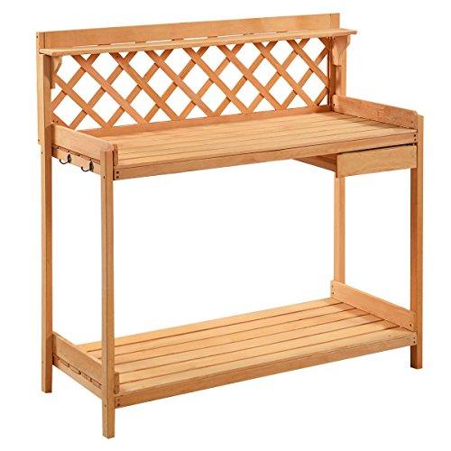 Fir Wood Planting Garden Work Bench Decor Seat with Hooks