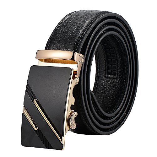 Tiitc Men's Genuine Leather Ratchet Dress Belt with Automatic Buckle (Black, 35mm Wide) (Gold Black Buckle-01)