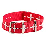 Clockwork Synergy Classic Nylon Nato watch straps bands (18mm, Red / White Cross)
