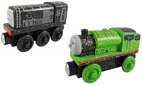 - Snow Covered Diesel and Percy 2 Pack - Thomas & Friends Wooden Railway Tank Train Engine - Brand New Loose
