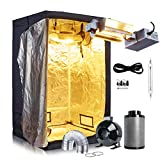 Oppolite Indoor Grow Tent Kit Complete Package 1000W DE HPS Grow Light Kit +6'' Fan Filter Kit+48''X48''X80'' Grow Tent Hydroponics Growing System Plant Growing (1000W Open Kit /Horizontal)
