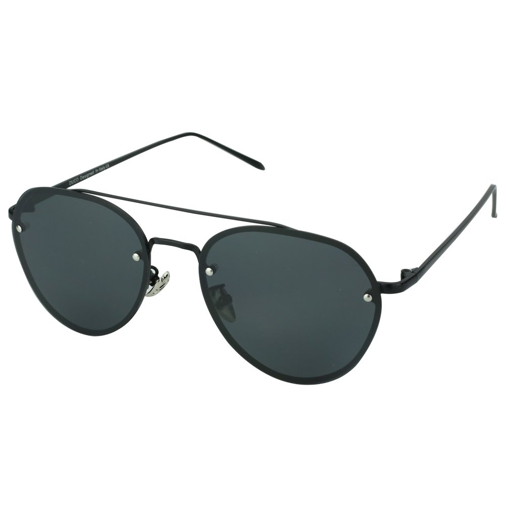 Duco Pilot Style Mirrored Polarized Sunglasses UV400 Men And Women 3025F (Black Frame Gray Lens, 60) by DUCO