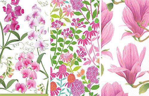 Flowers Sweet Pea Designs - Caspari Guest Towels Collection (Sweet Peas, Wildflower Meadow, Mystical Magnolia)