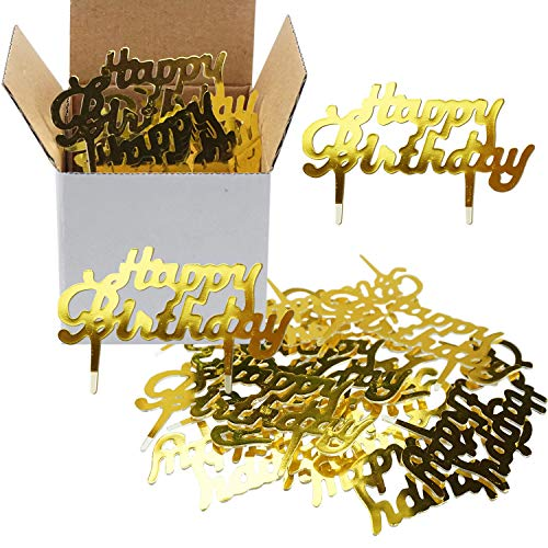 Gold Mini Plastic Happy Birthday Cupcake Cake Toppers Picks For Party Dessert Table Decorations Supplies, 50 Counts by Shxstore