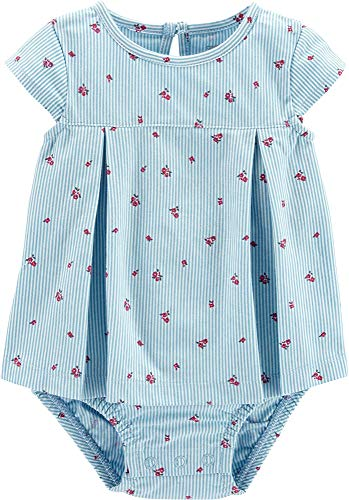 Carters Baby Girls Floral Pinstripe Sunsuit 9 Months Blue/White/Pink (Pink Pinstripe Set Diaper)