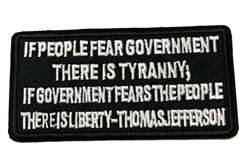 """Thomas Jefferson - Tyranny - Liberty - Embroidered 4"""" Patch Iron or Sew-on Tactical Military Morale Biker Freedom 3% U.S. Constitution Series Emblem Badge DIY Appliques Application Decals Stickers"""
