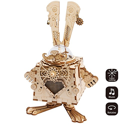 (ROBOTIME 3D Laser Cut Wooden Puzzle Music Box Kit DIY Robot Toy RoboBunny Craft Kit Best Birthday Gifts for Men & Women)