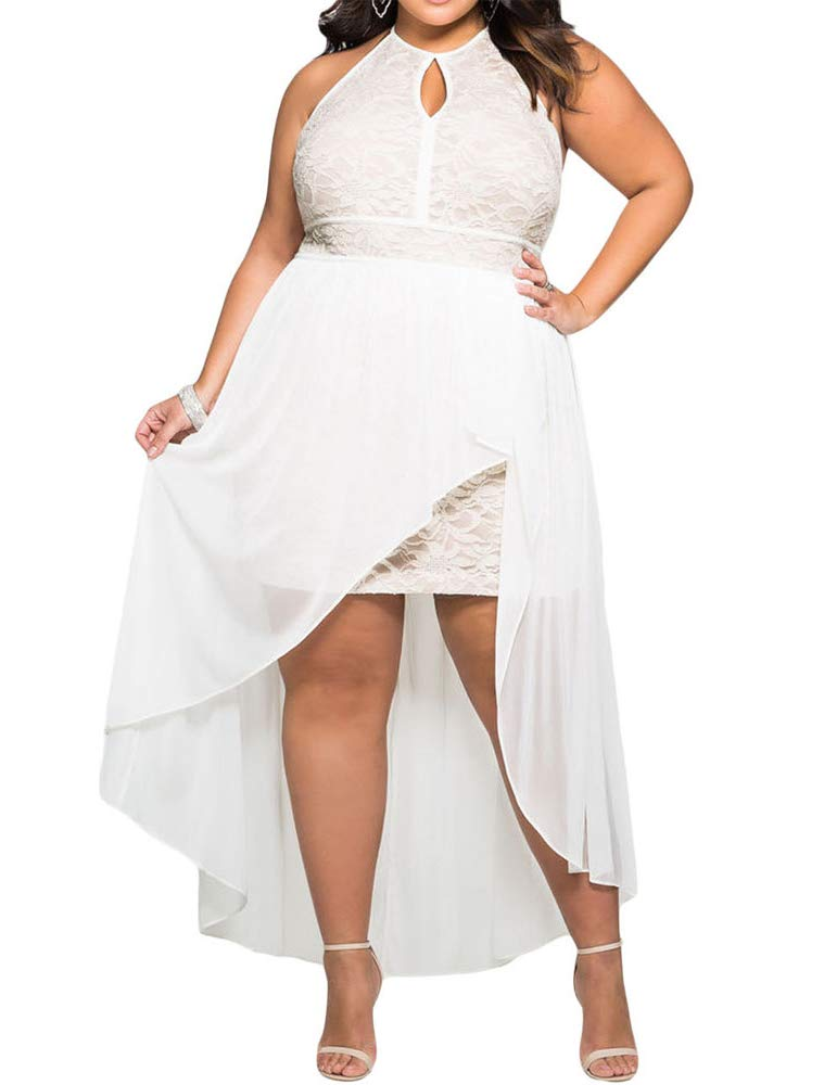 818 Plus Size Hi Low Lace Overlay Halter Cocktail Casual Beach Wedding Maxi Dress