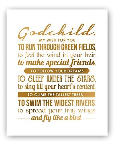 - Godchild Gift Gold Foil Art Print -11x14