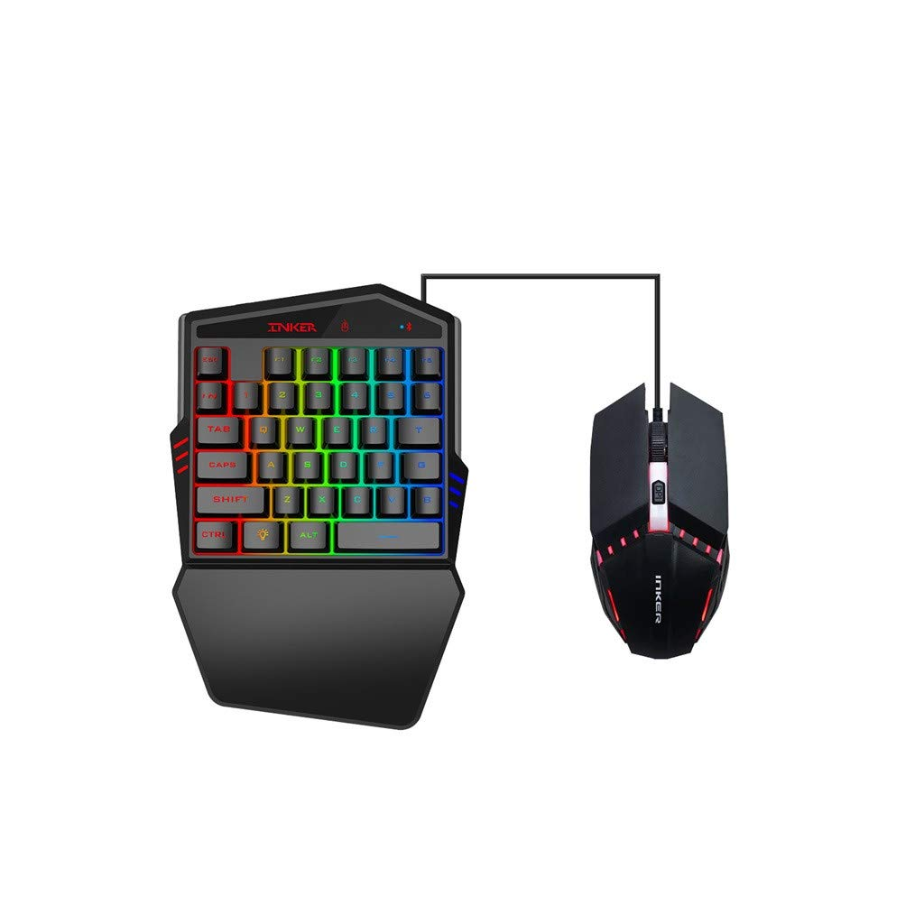 1KTon K99 ErgonomicMulticolor Backlight One-Handed Game Blueteoth Keyboard+Wired Mouse by 1KTon