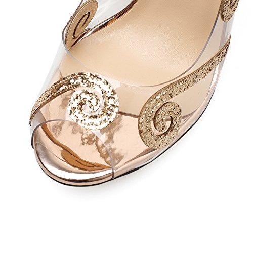 y Alto Lentejuelas Fuera Transparente Personalidad Zapatos de Pescado YMFIE de tacón Moda Talla Fino ahuecó tacón de Boca Zapatos Damas Temperamento Golden Verano Sandalias de P8qOwBq
