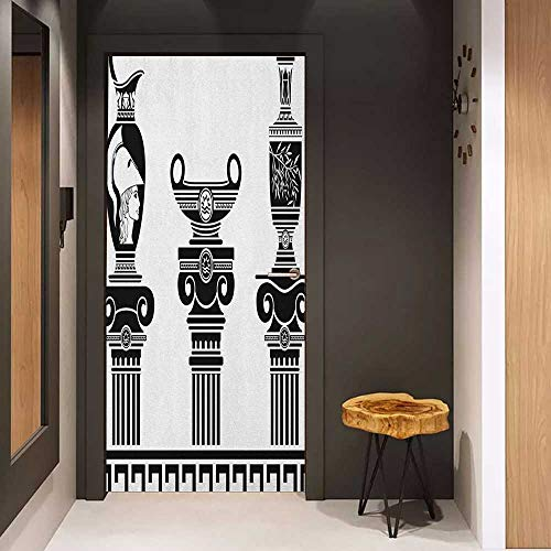 Onefzc Soliciting Sticker for Door Toga Party Set of Hellenic Vases and Ionic Columns Artistic Design Amphora Antiquity Mural Wallpaper W35.4 x H78.7 Black and White